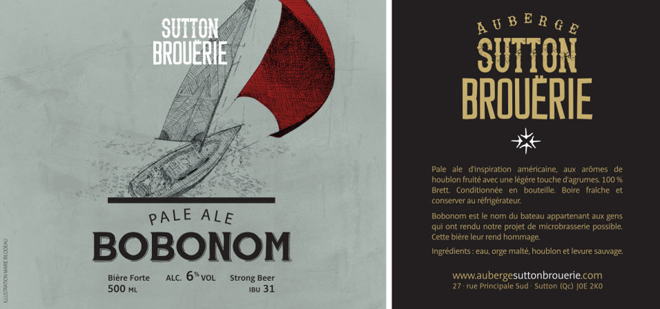 Bobonom - Bière de microbrasserie   Bière Pale Ale   Auberge Sutton Brouërie