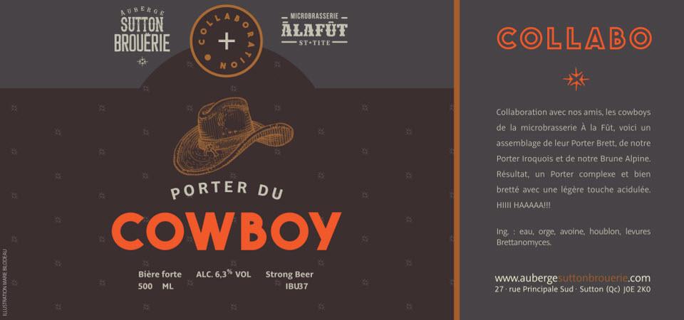 Porter du Cowboy - Bière de microbrasserie   Bière Porter   Auberge Sutton Brouërie