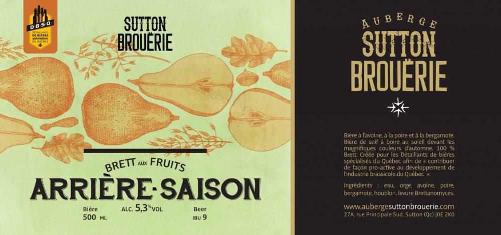 Arrière-Saison - Bière de microbrasserie   Bière Brett aux fruits   Auberge Sutton Brouërie