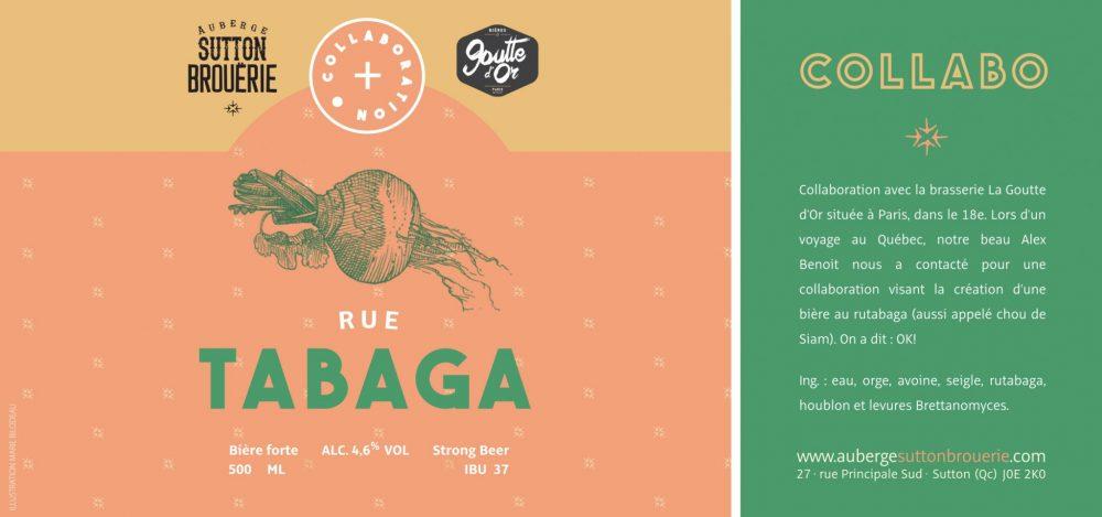 Rue Tabaga - Bière de microbrasserie   Bière Brett Collaborative   Auberge Sutton Brouërie